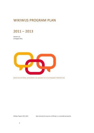 Wikiwijs Program Plan 2011 - 2013 - Wikiwijs in het onderwijs