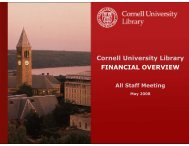 Cornell University Library FINANCIAL OVERVIEW