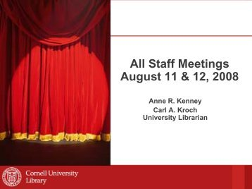 All Staff Meetings August 11 & 12 2008