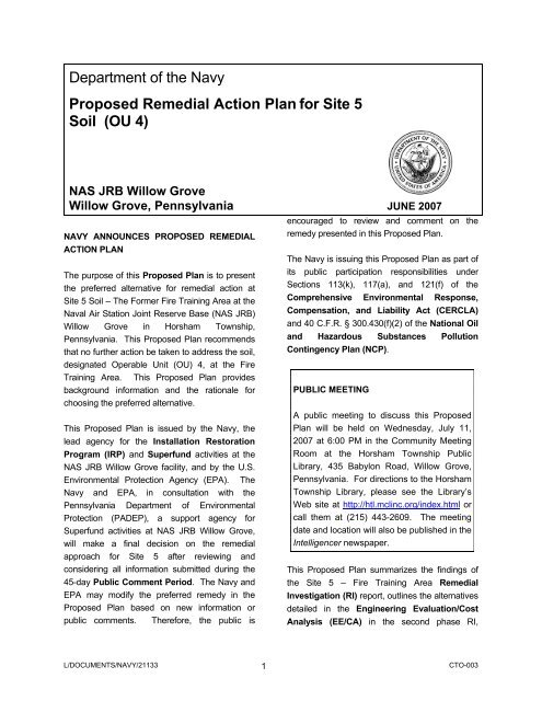 Department of the Navy Proposed Remedial Action Plan for