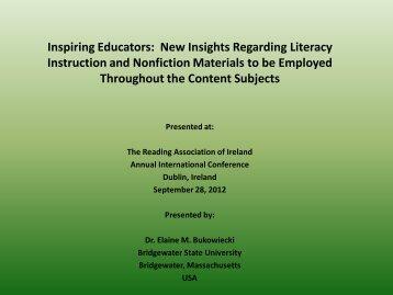 Inspiring Educators: New Insights Regarding Literacy Instruction and ...