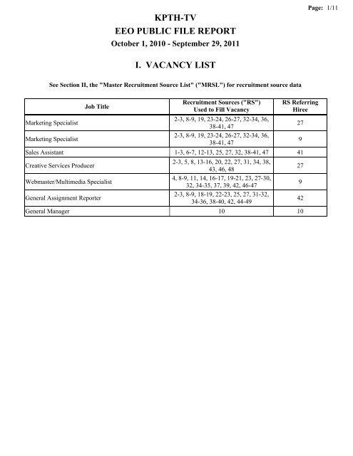 KPTH-TV EEO PUBLIC FILE REPORT I  VACANCY LIST - WorldNow
