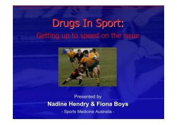Drugs In Sport: - Injury Control Council of Western Australia