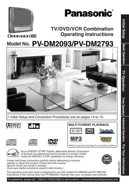 2 - Operating Manuals for Panasonic Products - Panasonic