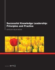 Successful Knowledge Leadership Principles and Practice