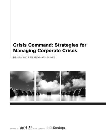 Crisis Command Strategies for Managing Corporate Crises