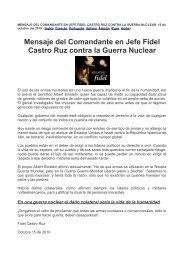 Mensaje del Comandante en Jefe Fidel Castro Ruz contra la Guerra Nuclear