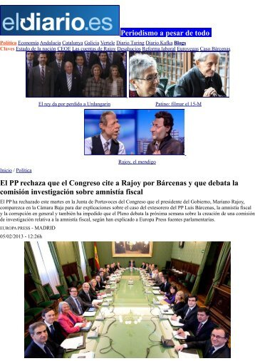 El PP rechaza que el Congreso cite a Rajoy por Bárcenas y que ...