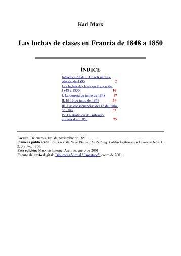Las luchas de clases en Francia de 1848 a 1850