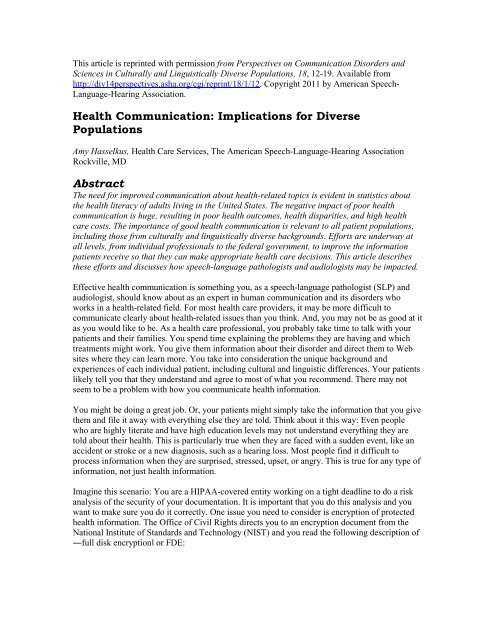 Health Communication Implications for Diverse Populations Abstract