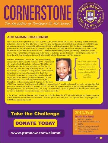 Fall 2012 Cornerstone Newsletter - Providence St. Mel