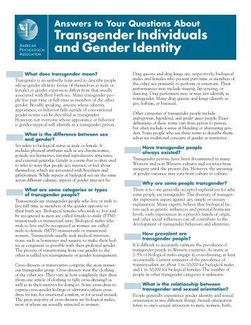 Transgender Individuals and Gender Identity