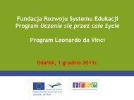 Program Uczenie się przez całe życie Program Leonardo da Vinci