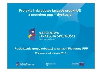Projekty hybrydowe łączące środki UE z modelem ppp – dyskusja