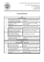 program seminarium - Państwowa Wyższa Szkoła Zawodowa w ...