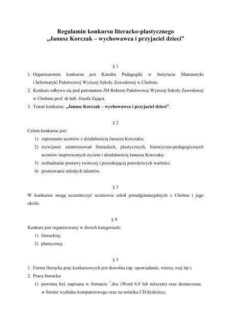Regulamin Konkursu Janusz Korczak Paåstwowa Wyå¼sza Szkoå
