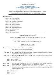 program konferencji - Państwowa Wyższa Szkoła Zawodowa w ...
