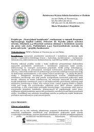 Informacje o projekcie - Państwowa Wyższa Szkoła Zawodowa w ...