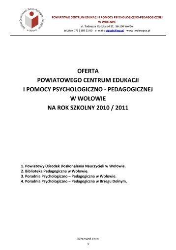 pedagogicznej w wołowie na rok szkolny 2010 / 2011 - wolowpce.pl