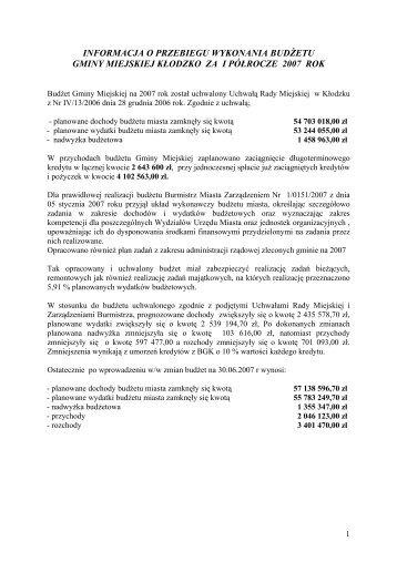sprawozdanie roczne z wykonania budżetu - Biuletyn Informacji ...
