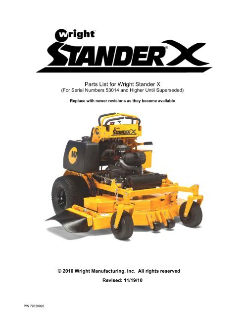 parts list for wright stander x Scag Mower Wiring Diagram