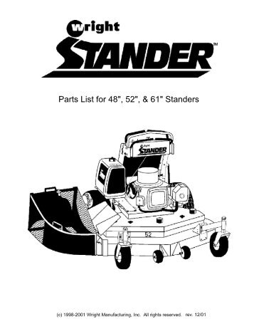 """Parts List for the Wright Stander 32"""" 36"""" 42"""" and 48"""" WSS"""