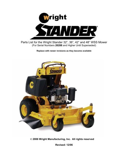"""Parts List for the Wright Stander 32"""" 36"""" 42"""" and 48"""" WSS Mower 