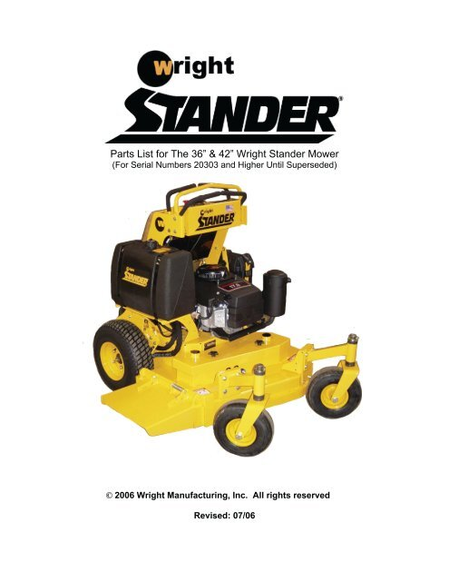 """Parts List for The 36"""" & 42"""" Wright Stander Mower 