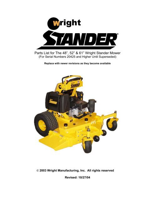 """Parts List for The 48"""" 52"""" & 61"""" Wright Stander Mower 