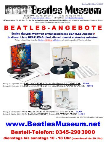 Beatles Museum - Katalog 53 mit Hyperlinks