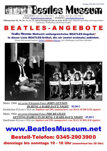 Beatles Museum - Katalog 54 mit Hyperlinks