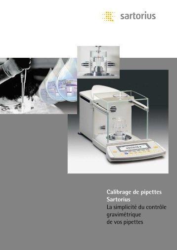 Calibrage de pipettes Sartorius La simplicité du ... - MPQ Electronique