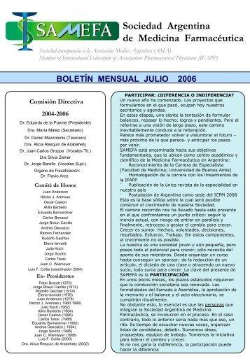Sociedad Argentina de Medicina Farmacéutica BOLETÍN ... - samefa