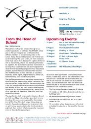 From the Head of School Upcoming Events - Hong Kong Academy