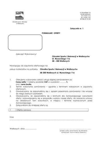 wzór oferty - Ośrodek Sportu i Rekreacji Wałbrzych