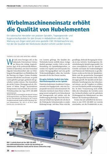 Wirbelmaschineneinsatz erhöht die Qualität von ... - Unimec
