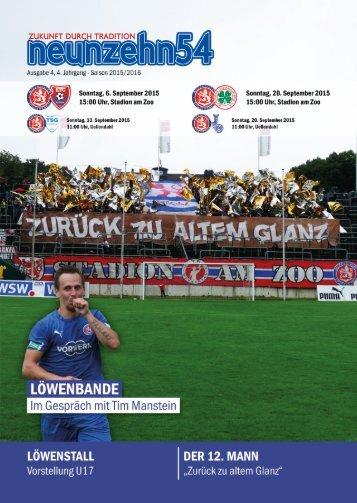 neunzehn54, Doppelausgabe KFC Uerdingen - RW Oberhausen U23. Heft 2, Saison 2015/16
