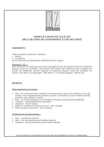 MODULE COUPE-FEU EZ-PATH DÉCLARATION DE CONFORMITÉ ET DE SÉCURITÉ