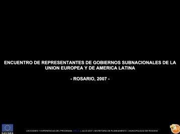 proyecto rosario suma - centro de documentación del programa urbal