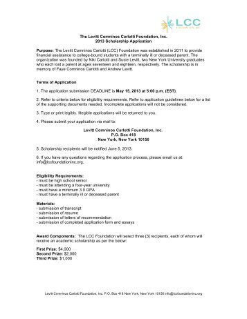 Scholarship Application 2013 - LCC Foundation Inc.