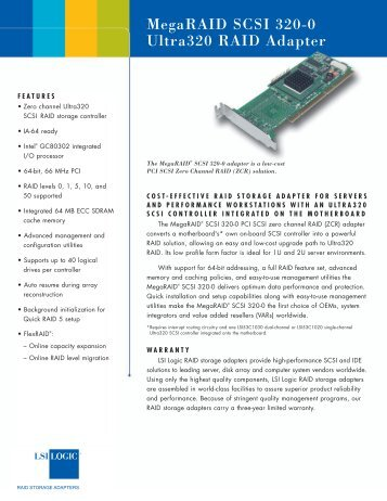 MegaRAID SCSI 320-0 product brief - LSI