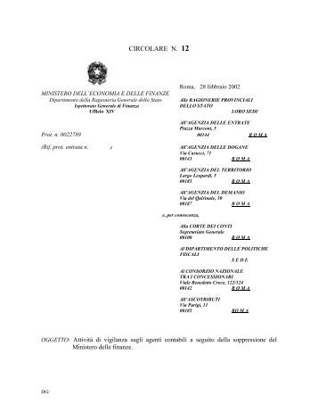CIRCOLARE N. 12 - Ragioneria Generale dello Stato
