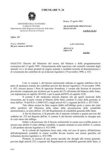 circolare n. 24 - Ragioneria Generale dello Stato - Ministero dell ...