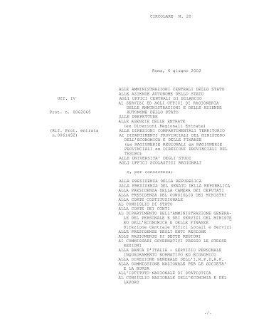 Circolare del 6 giugno 2002 n. 20 - Ragioneria Generale dello Stato