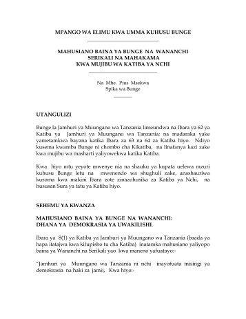 mpango wa elimu kwa umma kuhusu bunge - Parliament of Tanzania