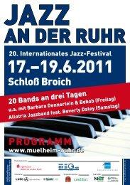 Programmübersicht Jazz an der Ruhr