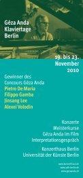 Géza Anda Klaviertage Berlin 19 bis 23 November 2010