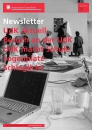 Newsletter UdK aktuell Besuch an der UdK UdK macht Schule Logenplatz Schlaglicht