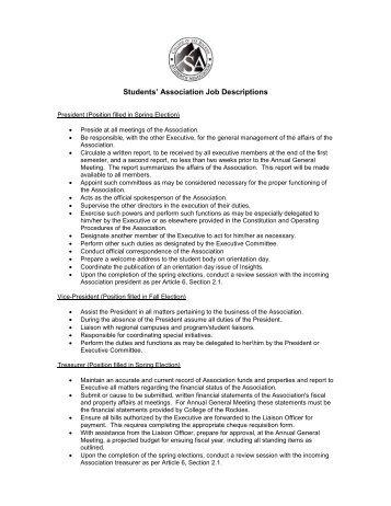Election – Job Descriptions - College of the Rockies