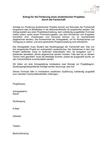 Förderantrag nicht studienrelevante Projekte - GWK